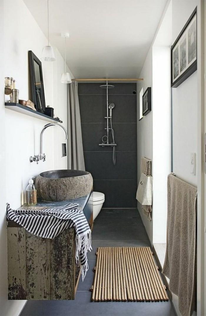 109 id es magnifiques pour votre vasque salle de bain - Tapis salle de bain bois ...
