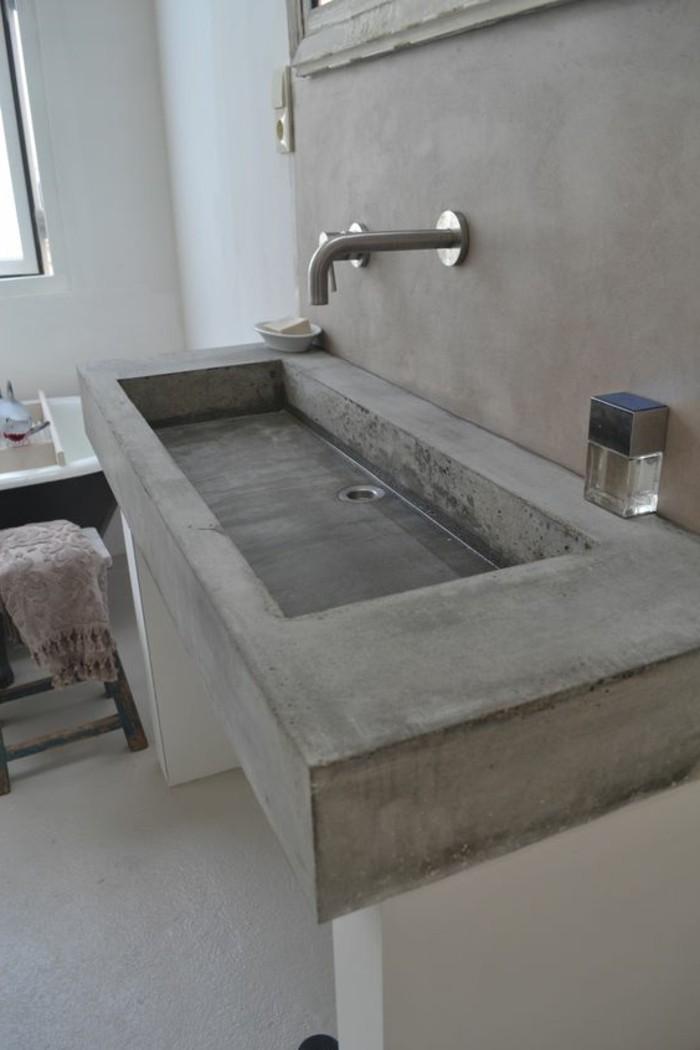 vasque salle de bain ciment gris simple moderne
