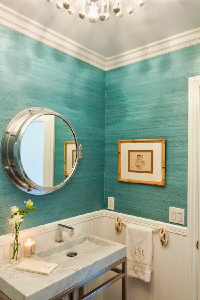 109 id es magnifiques pour votre vasque salle de bain for Carreau bleu mur salle de bain marseille