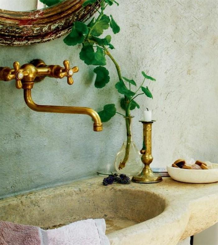 vasque-salle-de-bain-dore-vert-fleur-miroir