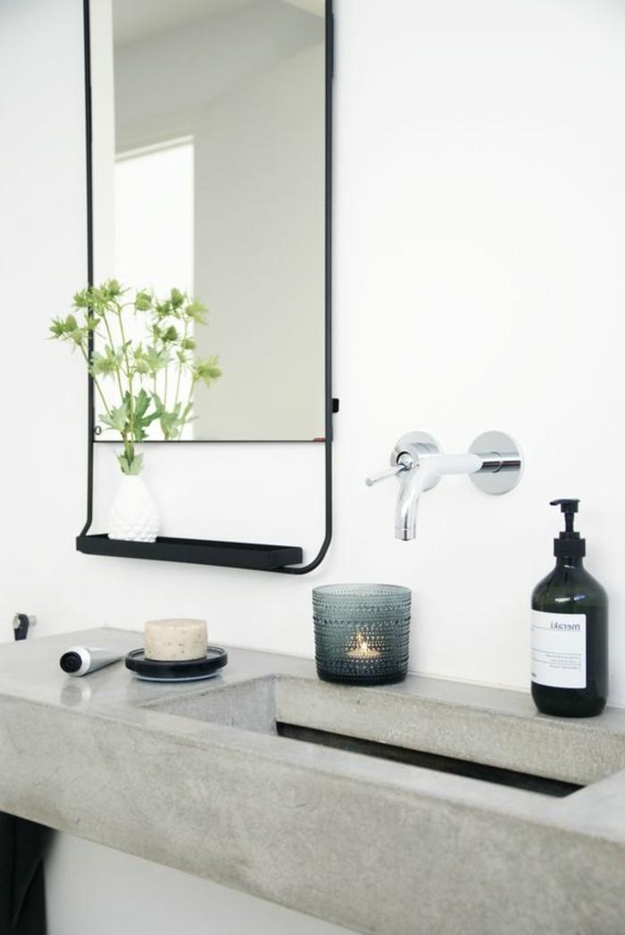 vasque-salle-de-bain-grand-miroir-blanc-fleur-verte
