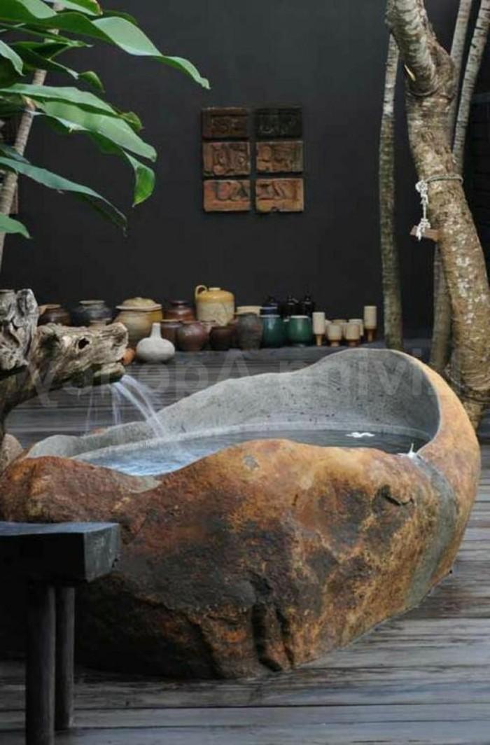vasque-salle-de-bain-interessant-vert-fleur-pierre-marron-naturel