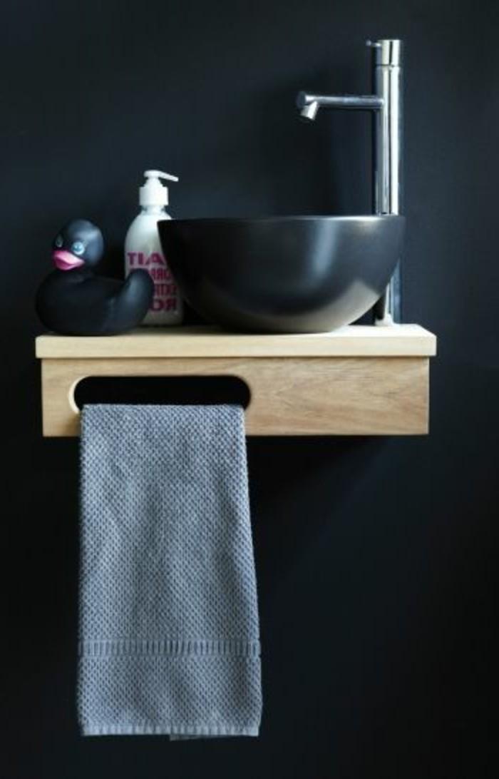 vasque-salle-de-bain-noir-simple-moderne-serviette