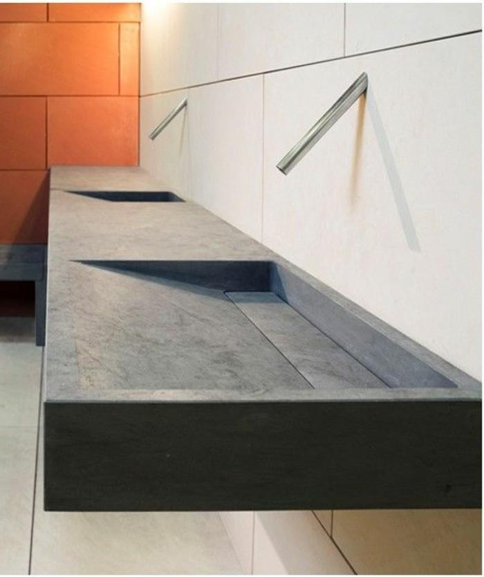 vasque-salle-de-bain-orange-deco-marbre-en-gris-simple