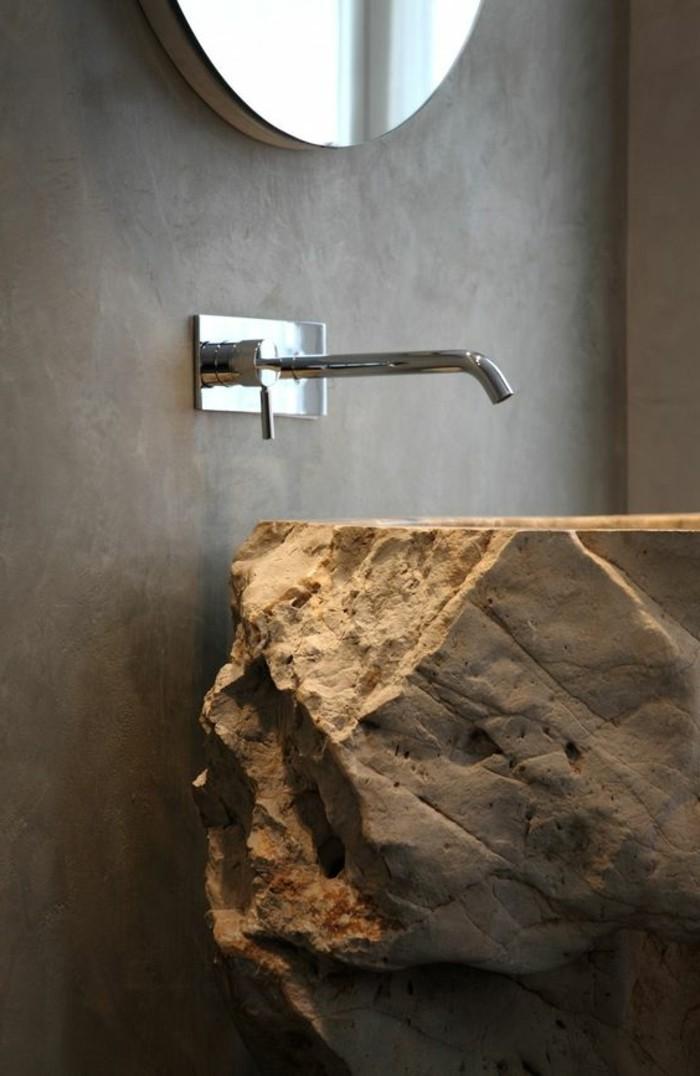 vasque-salle-de-bain-pierre-murs-gris-miroir-rond