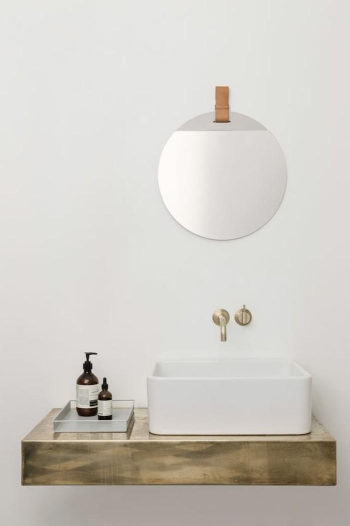 vasque-salle-de-bain-rond-miroir-simple-rayons-siphon