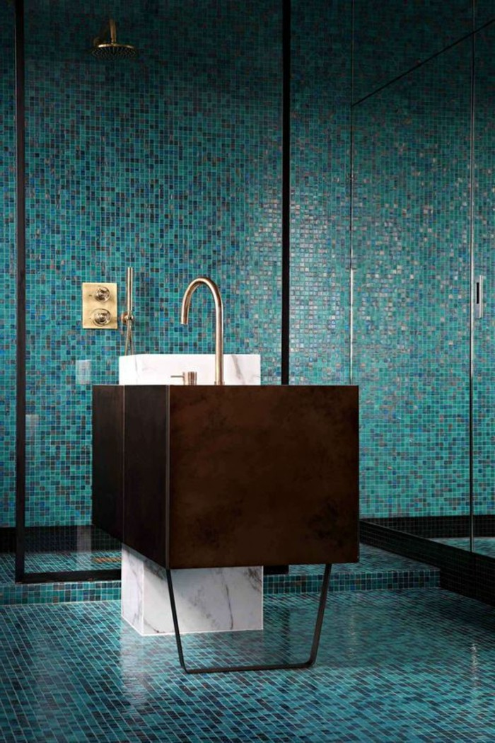 109 id es magnifiques pour votre vasque salle de bain - Salle de bain petit carreaux ...