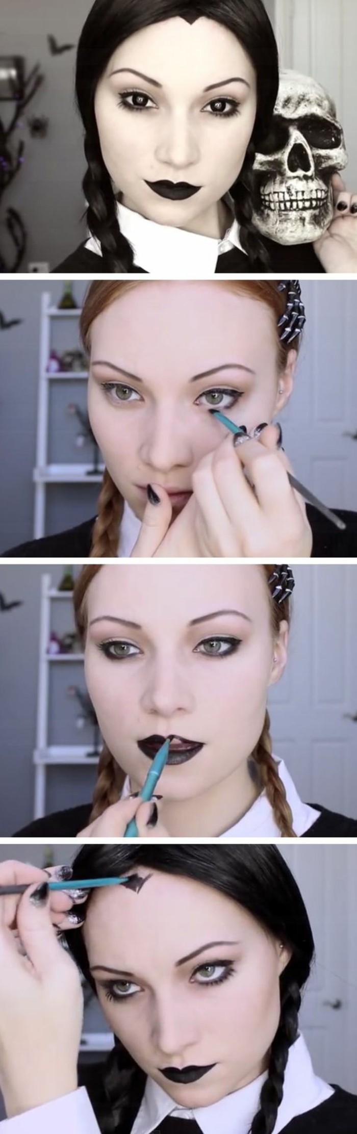 wednesday-addams-comment-faire-le-look-idee-diy-magnifique-maquillage-halloween