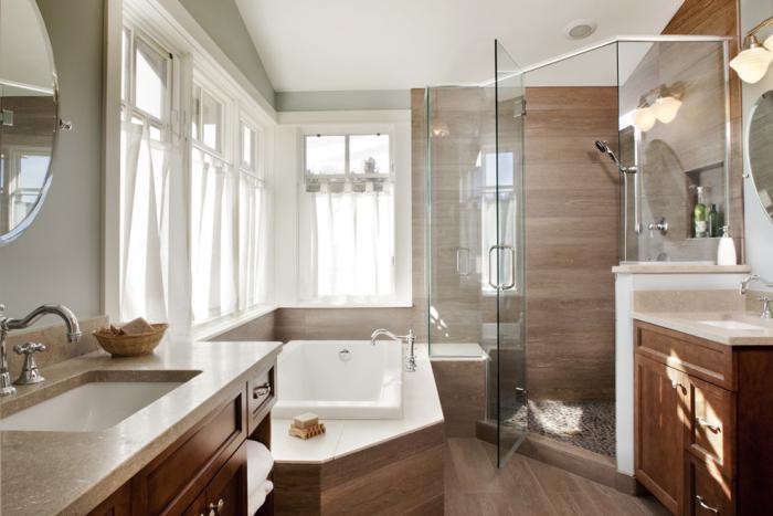 carrelage-imitation-bois-robinets-vintage-cabine-de-douche