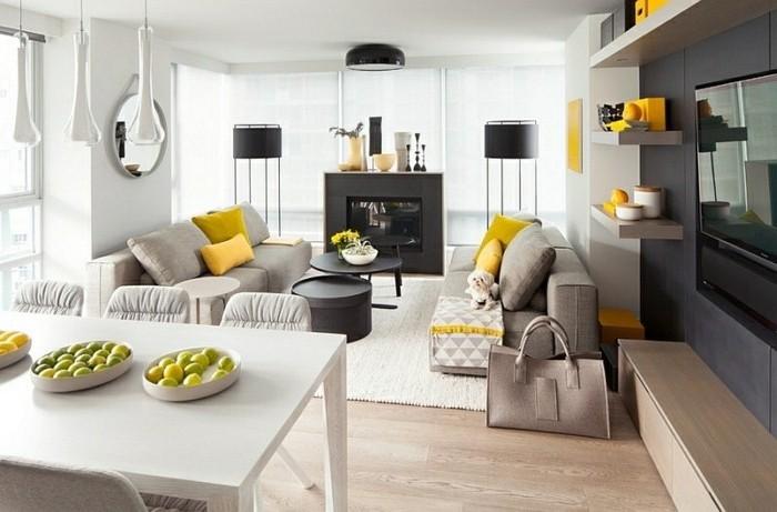 admirable-idee-deco-salon-gris-et-blanc-avec-des-accents-noirs-et-jaunes-qui-egayent-l-ambiance-salon-contemporain