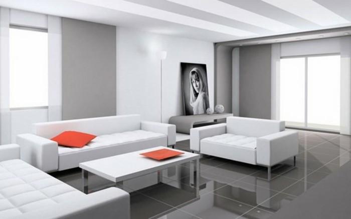 admirable-idee-deco-salon-gris-et-blanc-mobilier-blanc-carrelage-gris-petits-accents-orange-et-joli-portrait-en-noir-et-blanc-deco-sobre