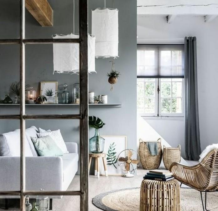 ambiance-tres-artistique-et-paisible-deco-salon-gris-canape-blanc-meubles-en-bois-abat-jours-design-interessant