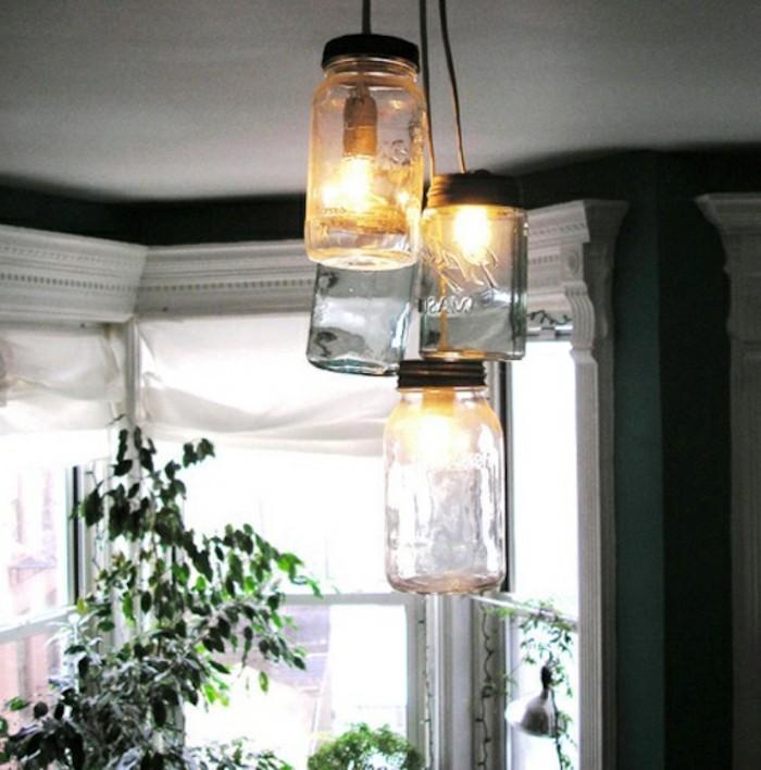 lampe suspendue bocaux verres idee brico diy