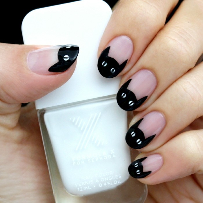 belle-deco-ongle-modele-ongle-halloween-chat-noir