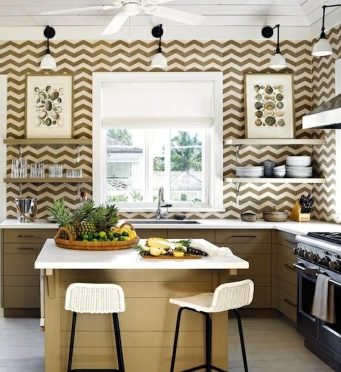 Cuisine taupe 51 suggestions charmantes et tr s tendance for Peinture murale cuisine blanche