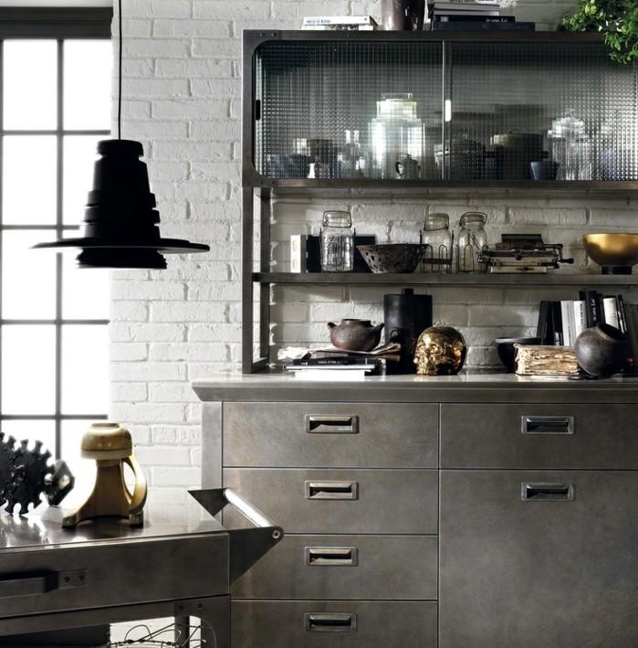buffet-industriel-gris-anthracite-meubles-gris-anthracite-sur-un-fond-blanc-mur-en-brique-lampe-industrielle-design