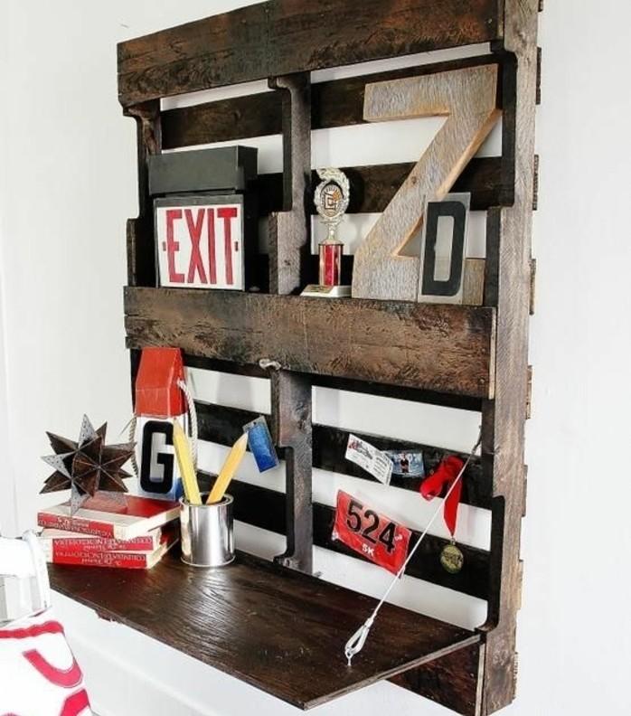 bureau escamotable meuble en palette formidable pour realiser - Bureau Gain De Place