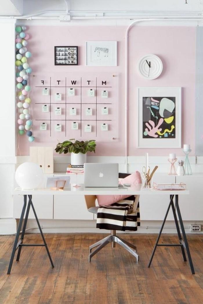bureau-laque-blanc-bureau-blanc-sur-treteaux-metalliques