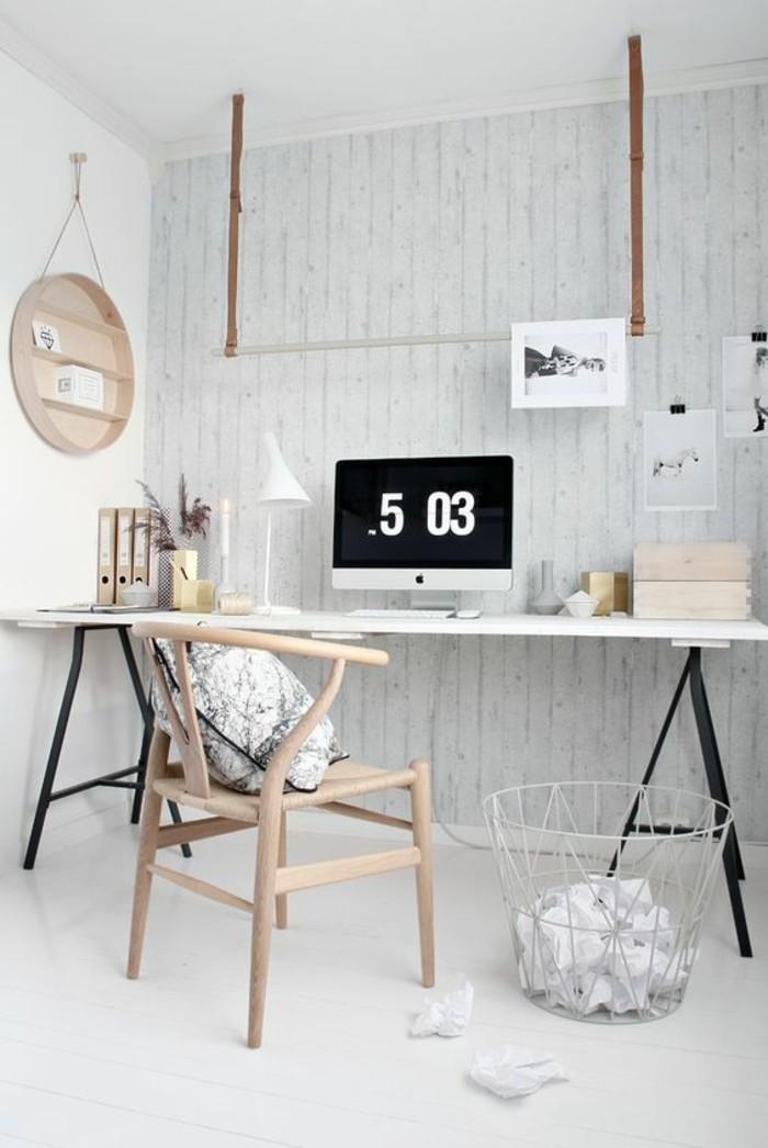 bureau-laque-blanc-bureau-sur-treteaux-chaise-en-bois-clair