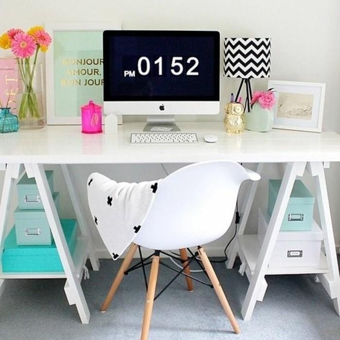 bureau-laque-blanc-bureau-sur-treteaux-chaise-scandinave