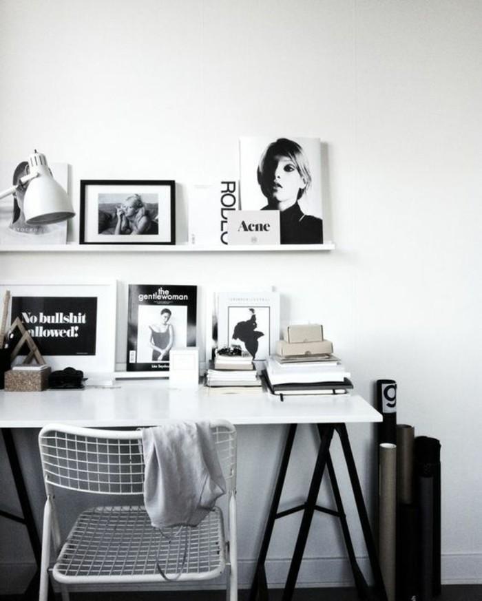 bureau-laque-blanc-decoration-de-bureau-noire-et-blanc