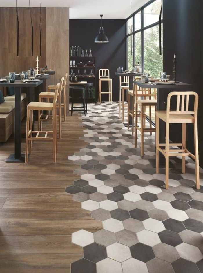 Le carrelage aspect bois en 74 photos quels sont ses for Carrelage hexagonal parquet