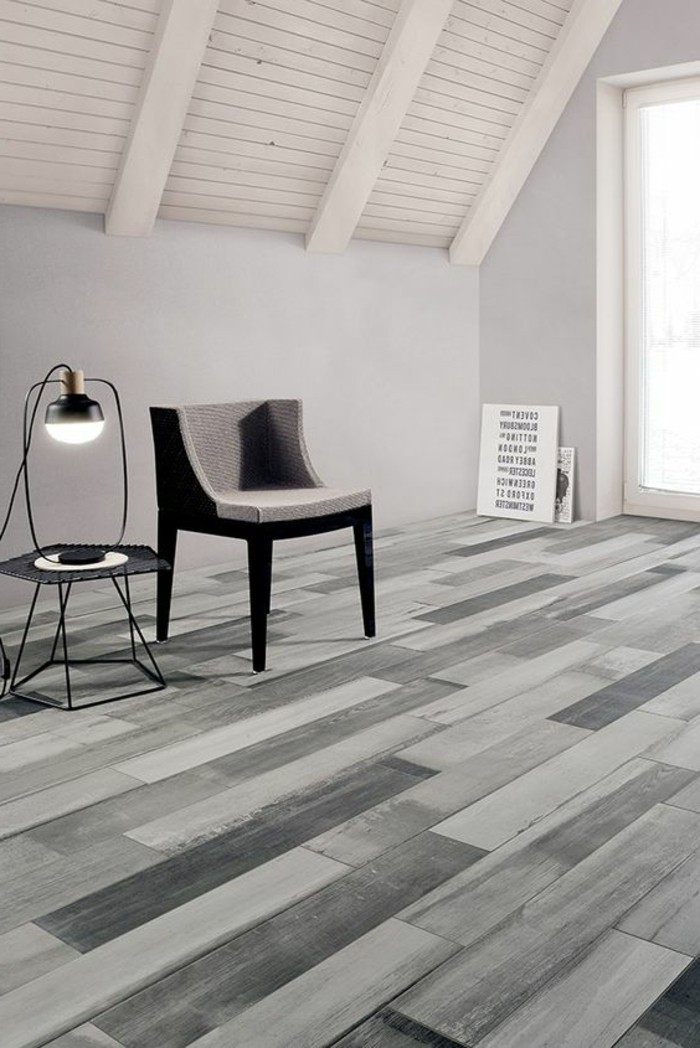 Le carrelage aspect bois en 74 photos quels sont ses - Salon parquet gris ...