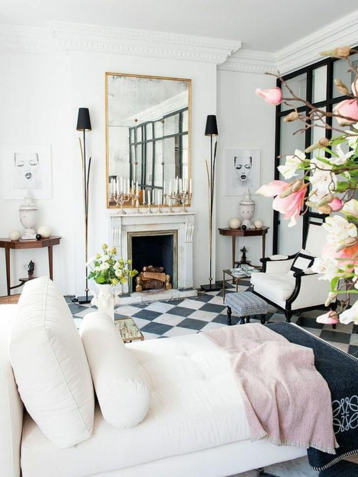 carrelage-damier-noir-et-blanc-chambre-a-coucher-originale