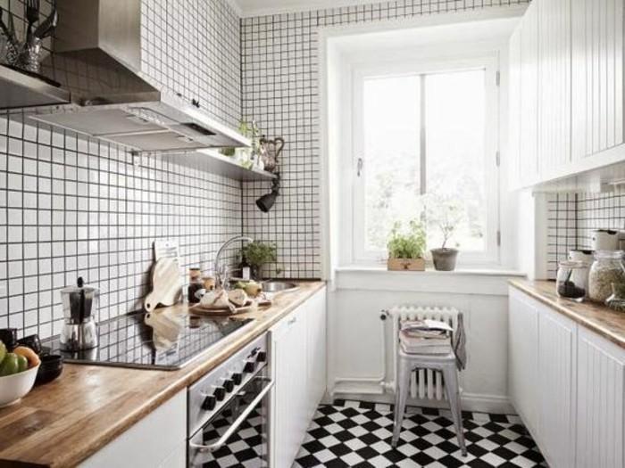 carrelage-damier-noir-et-blanc-cuisine-epuree
