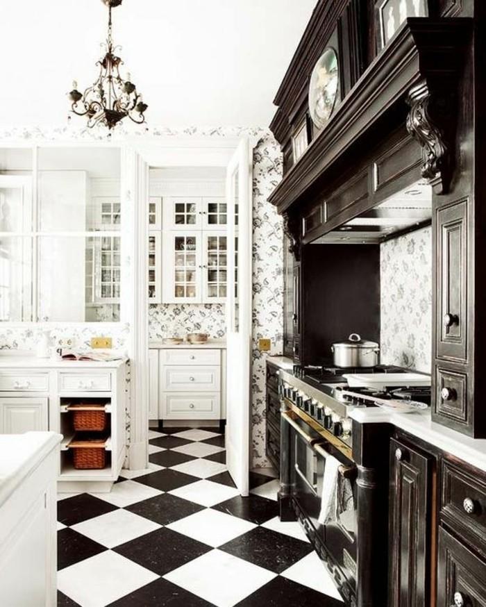 carrelage-damier-noir-et-blanc-cuisine-en-noir-et-blanc
