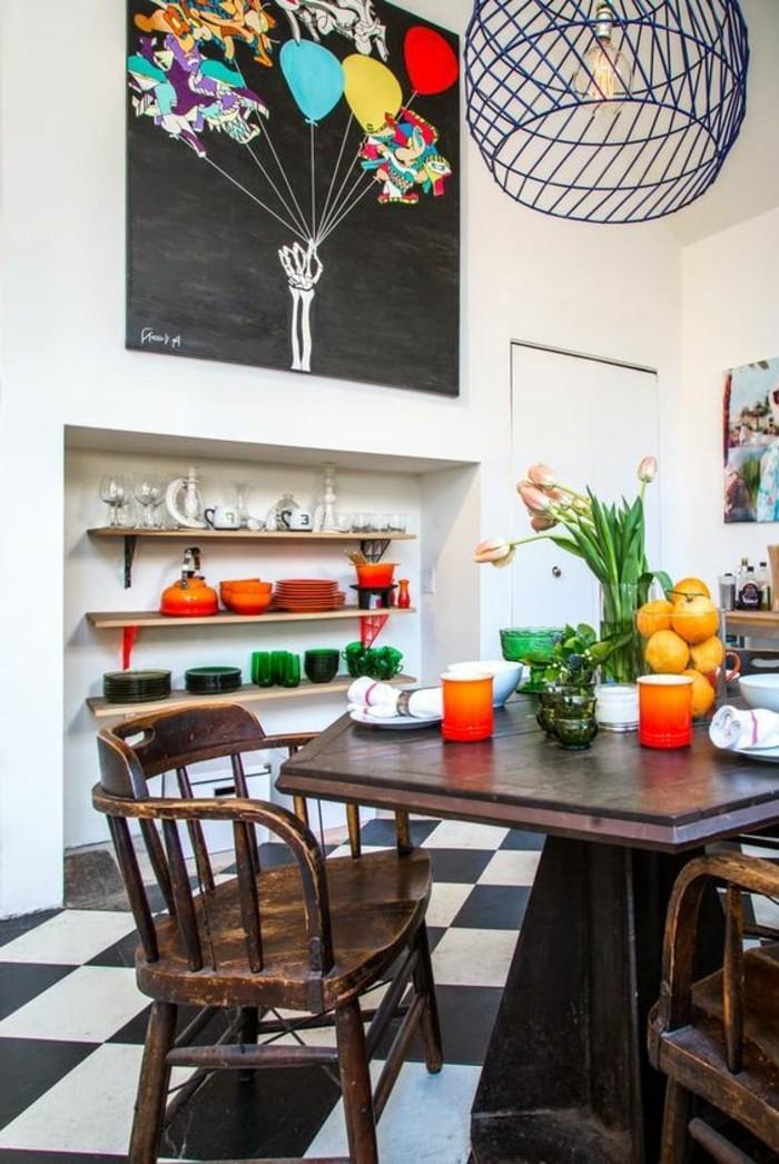 carrelage-damier-noir-et-blanc-cuisine-joyeuse-accents-en-couleurs