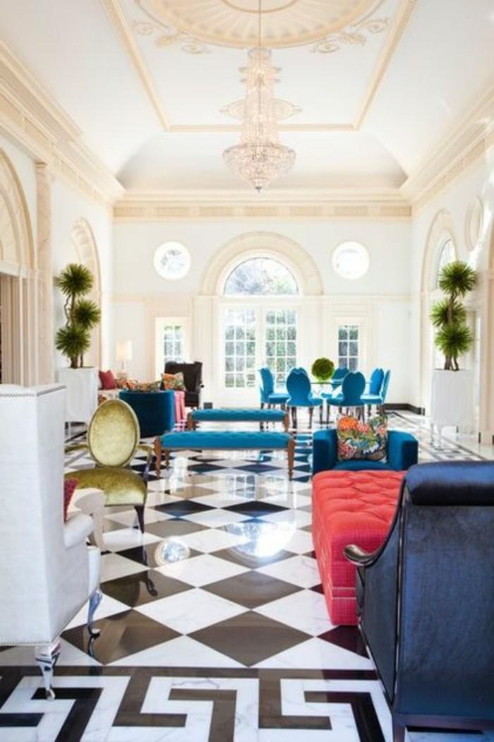 carrelage-damier-noir-et-blanc-deco-meubles-colores-carreaux-noirs-et-blancs