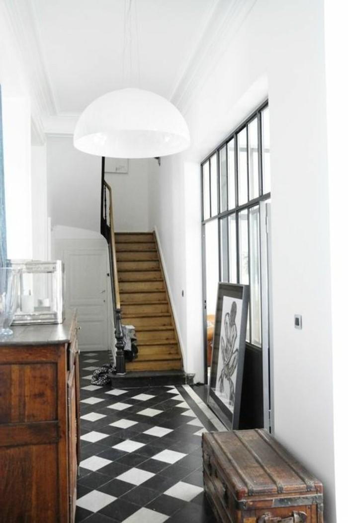 carrelage-damier-noir-et-blanc-decor-vintage-bois-et-carreaux-noir-et-blanc
