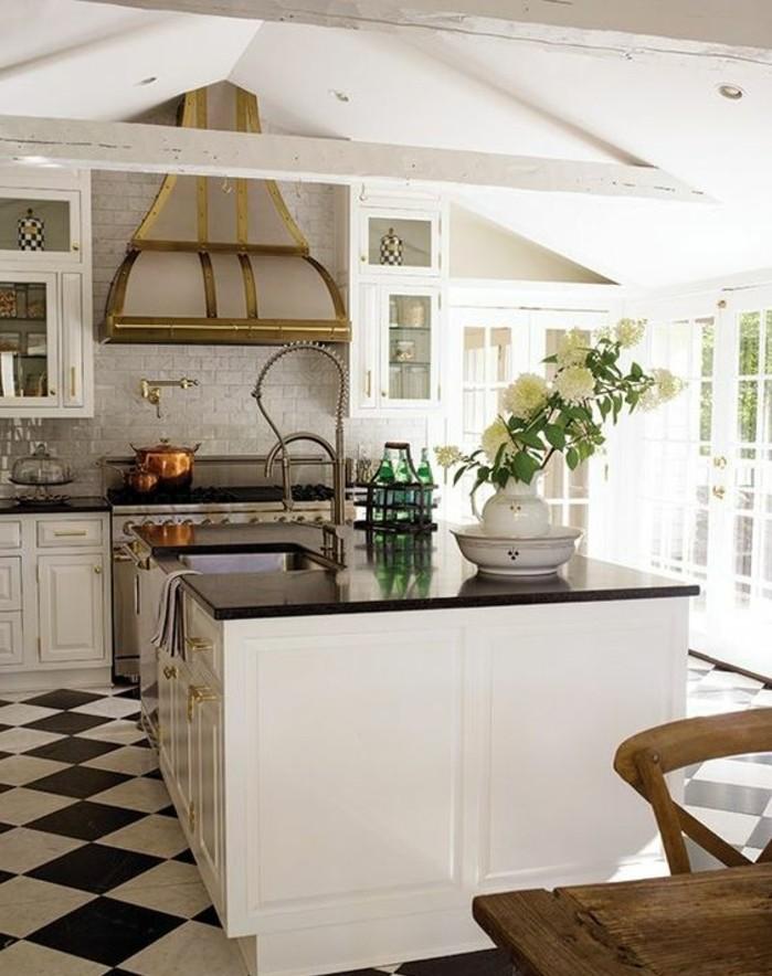 carrelage-damier-noir-et-blanc-dans-cuisine-contemporaine