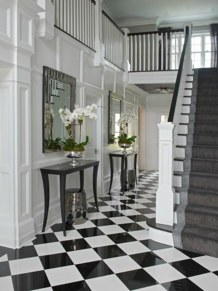 carrelage-damier-noir-et-blanc-deux-miroirs-encadres-dans-le-couloir
