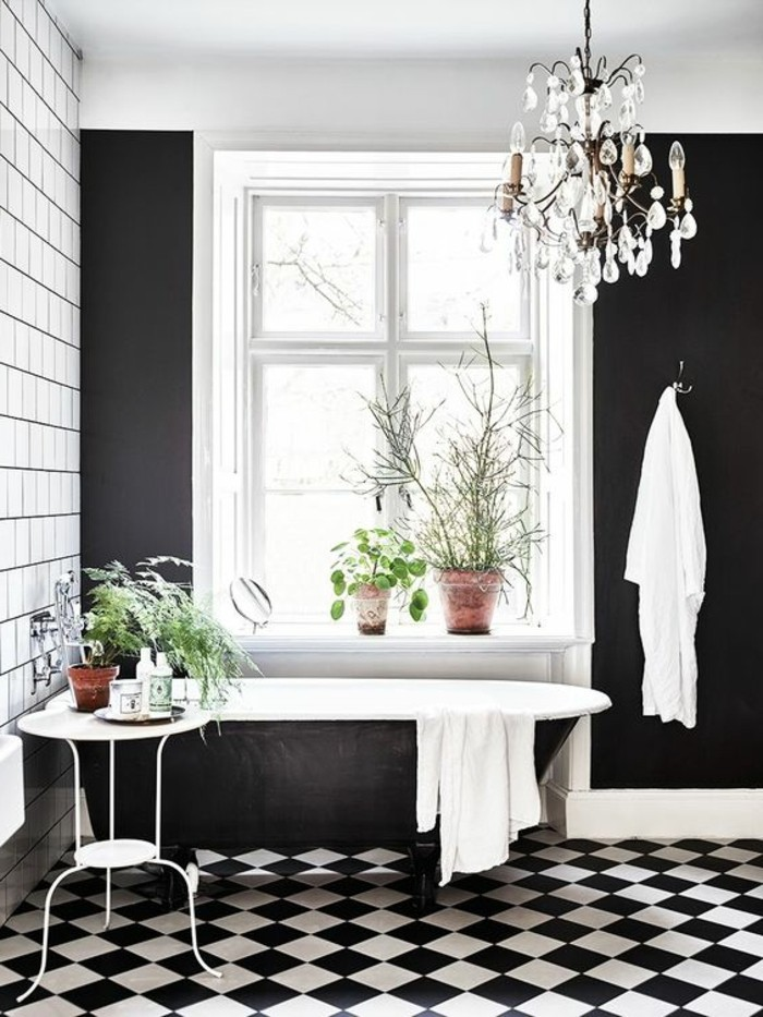 cool interesting with carrelage damier noir et blanc salle de bain with lino noir et blanc damier. Black Bedroom Furniture Sets. Home Design Ideas
