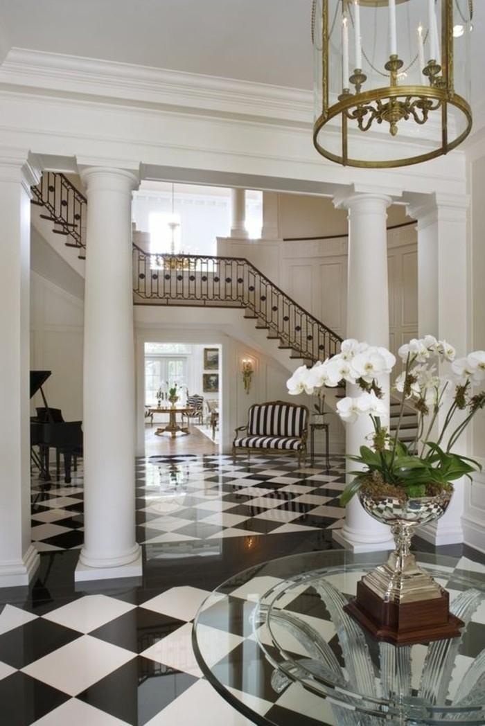 carrelage-damier-noir-et-blanc-meubles-en-verre-et-sol-brillant