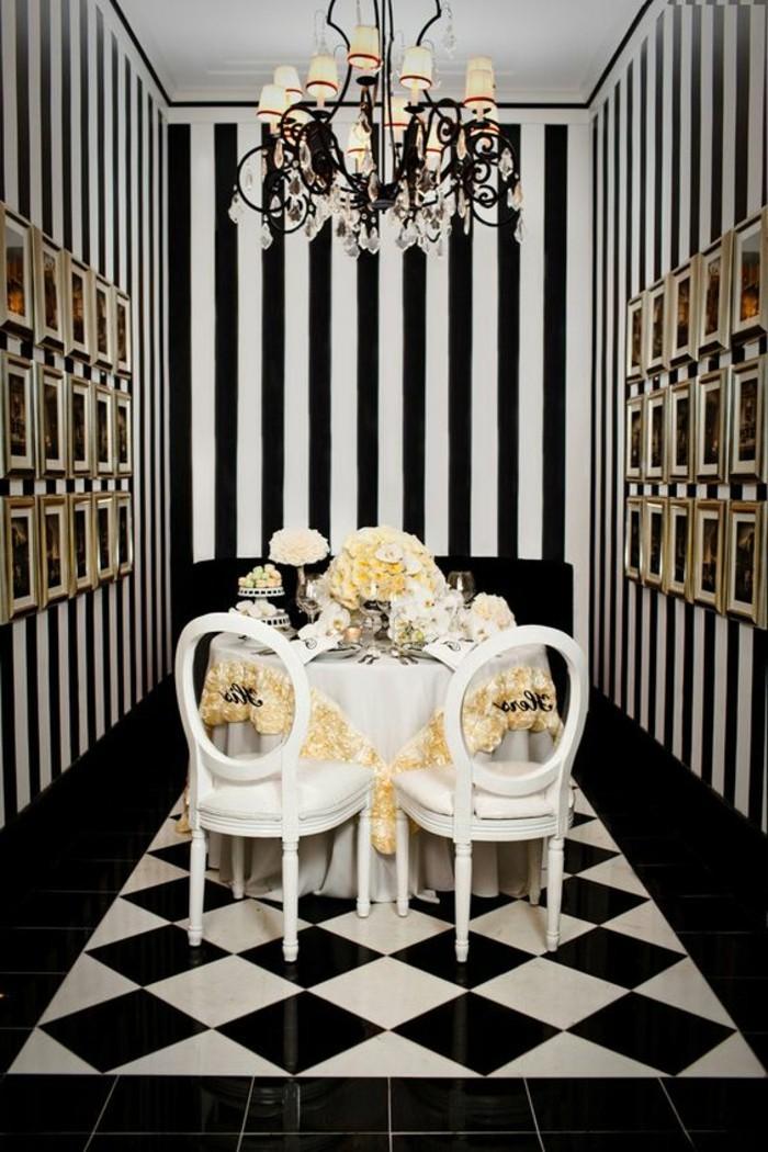 carrelage-damier-noir-et-blanc-salle-a-manger-de-luxe