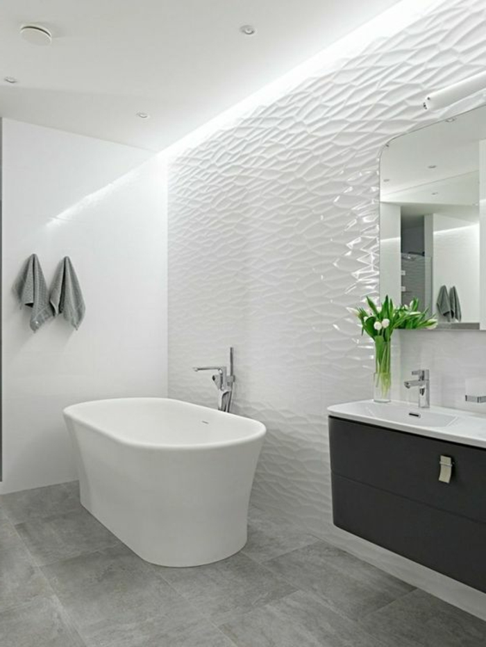 Best carrelage salle de bain blanc relief gallery for Carrelage blanc