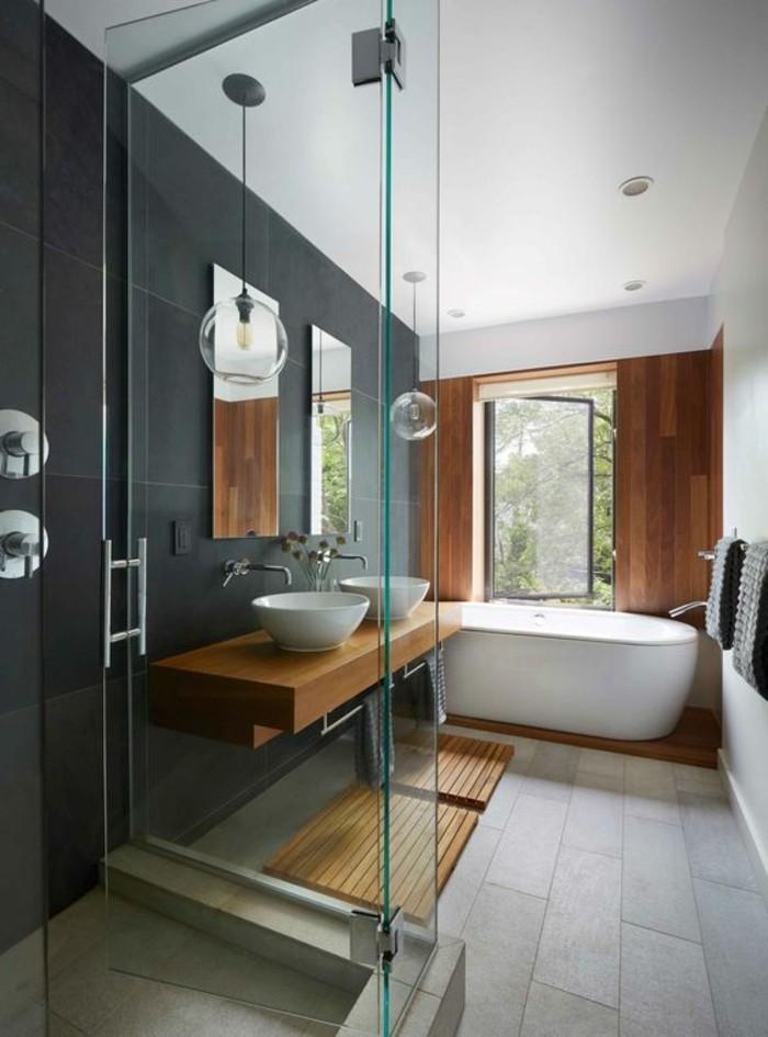 Le carrelage effet b ton en 55 photos inspirantes - Beton cire sur mur salle de bain ...