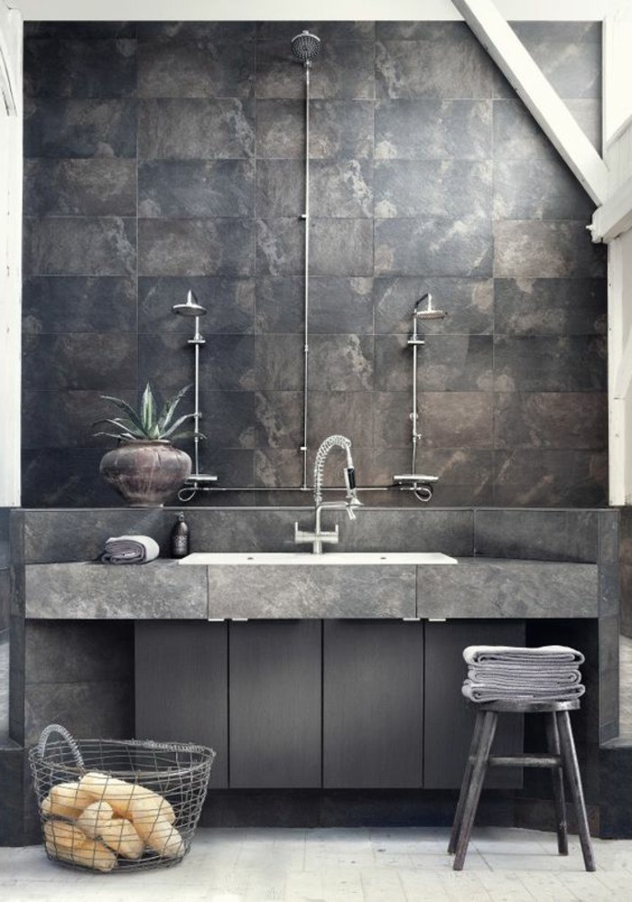 Le carrelage effet b ton en 55 photos inspirantes for Photo de salle de bain carrelage gris