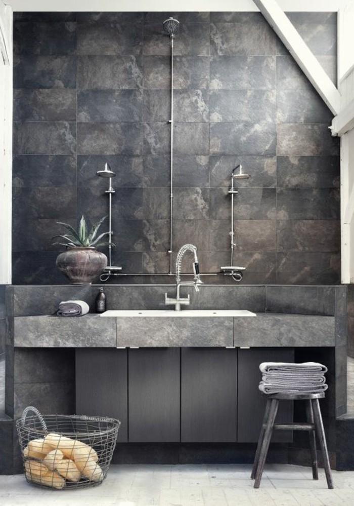 Salle De Bain Contemporaine 2016 : carrelage-effet-beton-salle-de-bain-contemporaine-gris