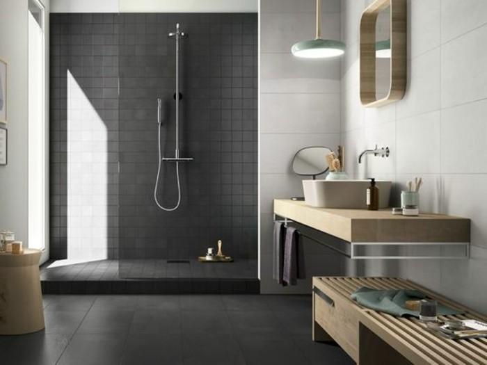 Le carrelage effet b ton en 55 photos inspirantes for Salle de bain grise et bois