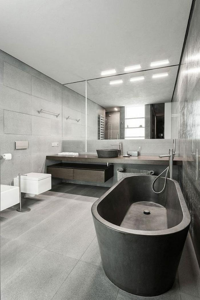 59 salles de bain chic qui vous montrent le beaut du carrelage gris. Black Bedroom Furniture Sets. Home Design Ideas