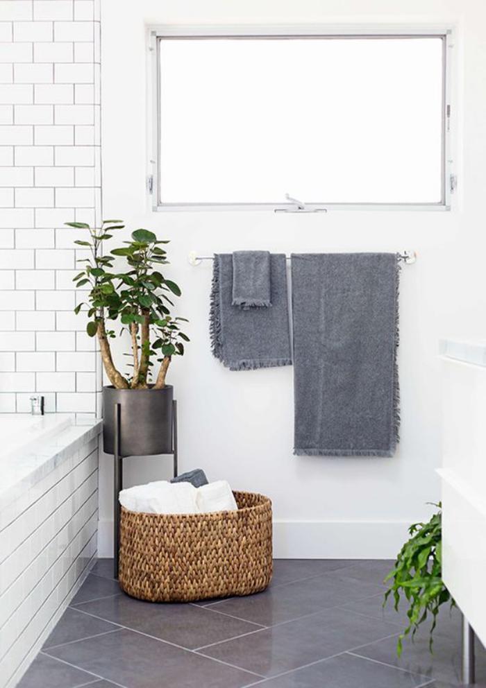 carrelage-gris-brillant-et-carrelage-metro-blanc-et-plantes-vertes