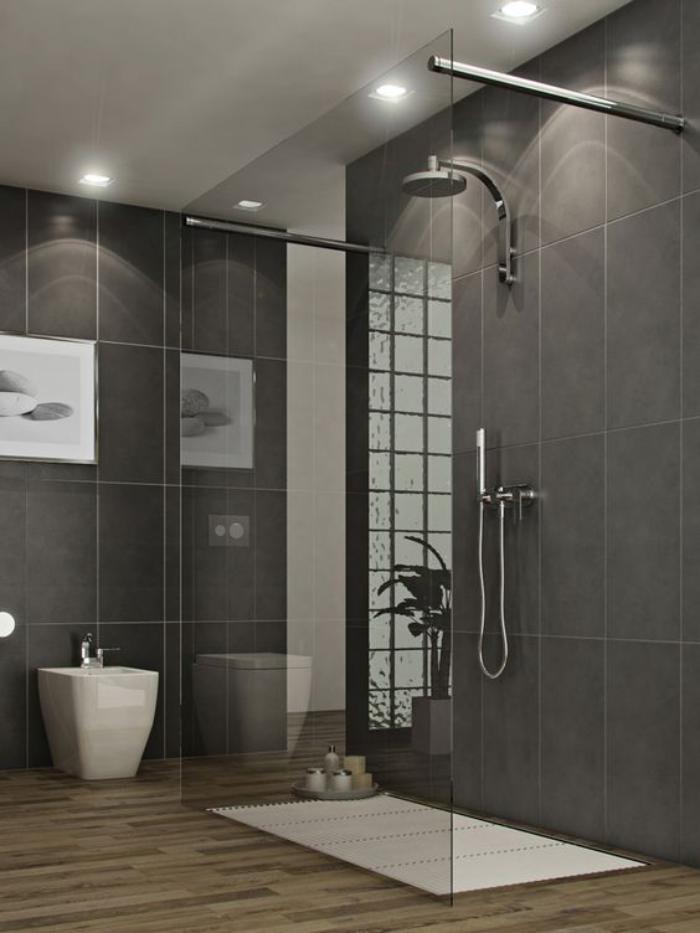 carrelage gris douche a litalienne salle de - Salle De Bain Grise Et Bois
