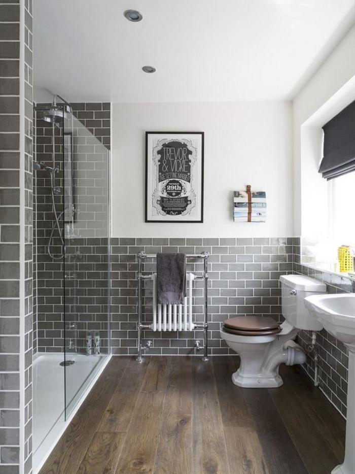 59 salles de bain chic qui vous montrent le beauté du carrelage ... - Carrelage Gris Anthracite Salle De Bain
