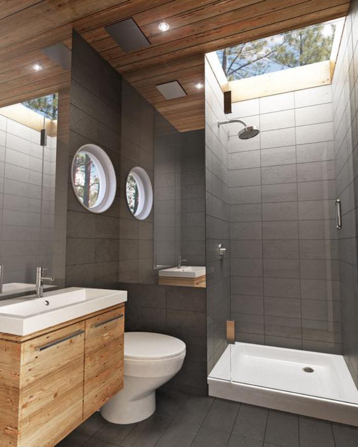 carrelage-gris-mural-meuble-salle-de-bain-bois-interieur-style-chalet-moderne