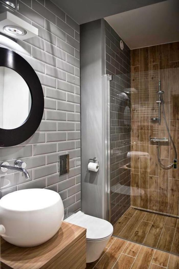 carrelage-gris-salle-de-bain-contemporaine-carrelage-gris-metro-et-revetement-mural-bois