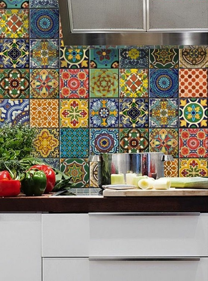 Carrelage mural multicolore cuisine photos de design d for Carrelage mural azulejos